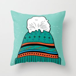 Winter Beanie Throw Pillow