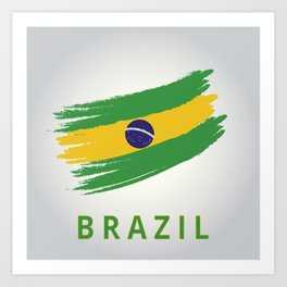 Abstract Brazil Flag Design Art Print