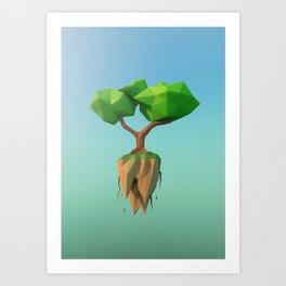Flying Tree - Lowpoly Art Print