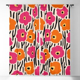 Mid Century Modern Wild Flowers Pattern Pink and Orange Blackout Curtain