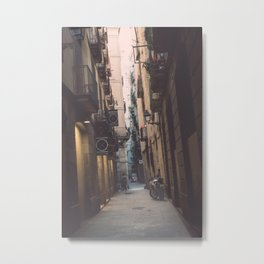 Old Town street in Barcelona Metal Print