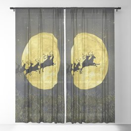 Santa's sleigh ride Sheer Curtain