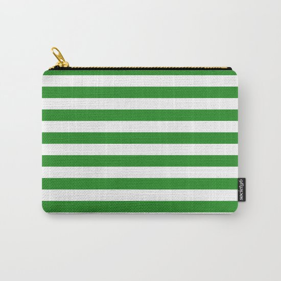 Horizontal Stripes (Forest Green/White) Carry-All Pouch
