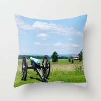 battlefield Throw Pillows featuring Gettysburg Battlefield 3 by Scenic Sights by Tara