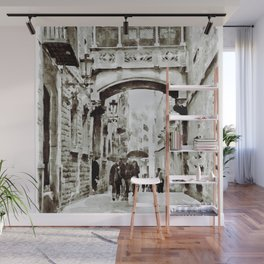 Carrer del Bisbe - Barcelona Black and White Wall Mural