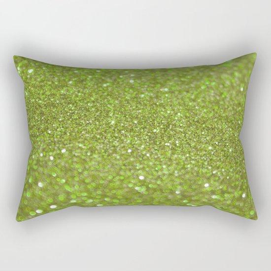 Bright Lime Glitter Rectangular Pillow