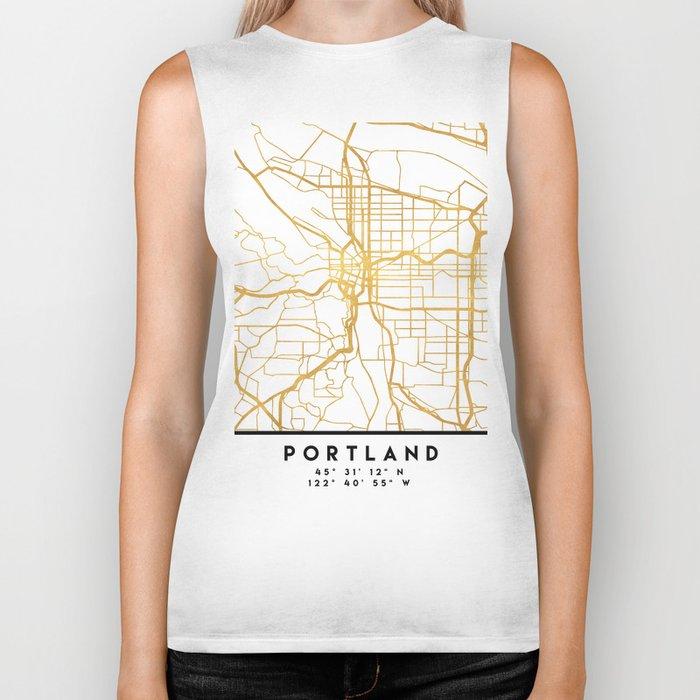 PORTLAND OREGON CITY STREET MAP ART Biker Tank
