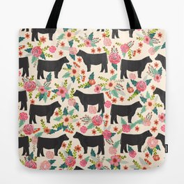 Show Steer cattle breed floral animal cow pattern cows florals farm gifts Tote Bag