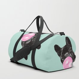 Bubble Gum Sneaky French Bulldog in Green Duffle Bag
