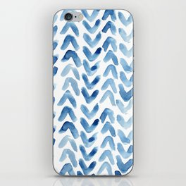 Blue Chevron Watercolour iPhone Skin