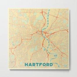 Hartford Map Retro Metal Print