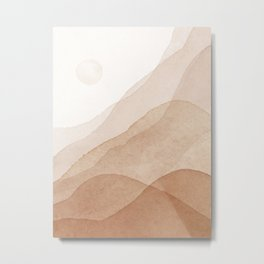Mid Century Magic Minimal Landscape Watercolor Painting Tan Neutral Tones Mountain With Sun Bohemian Earthy Style Metal Print