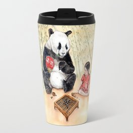 Playing Go with Panda Travel Mug