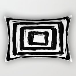 Minimalistic Black and White Square Rectangle Pattern Rectangular Pillow