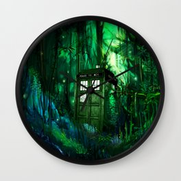 Tardis in the forest 2 Wall Clock