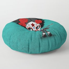 Day of the Dead Girl Playing Cuban Flag Guitar Floor Pillow