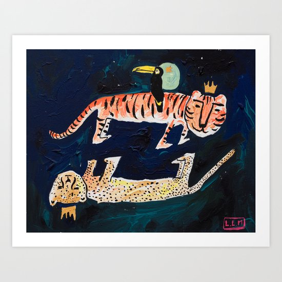 Tiger, Cheetah, Toucan Painting by larameintjes