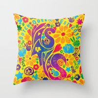 60s Throw Pillows featuring BQ - Yas4Yas 60s Throwback by lessdanthree