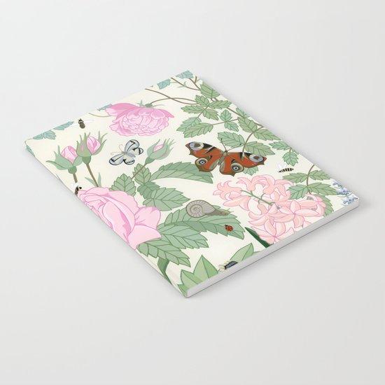 Pink flowers and butterflies Notebook