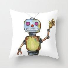 Waving Robot  Throw Pillow