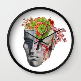 Vintage Anatomy Succulent Collage Wall Clock