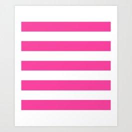Rose bonbon - solid color - white stripes pattern Art Print