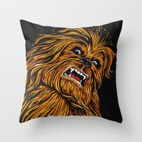 chewbacca Throw Pillows featuring Chewbacca by Laura-A