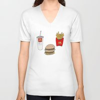 mac V-neck T-shirts featuring Big Mac by Onvit Kwon