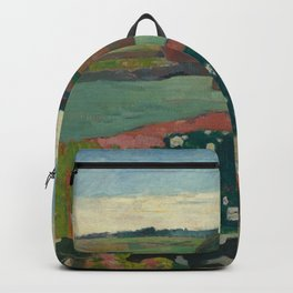 Haystacks in Brittany Oil Painting by Paul Gauguin Backpack