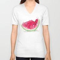 watermelon V-neck T-shirts featuring Watermelon by Bridget Davidson