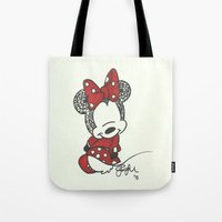 minnie mouse Tote Bags featuring Minnie Mouse Zen Tangle by Jadie Miller