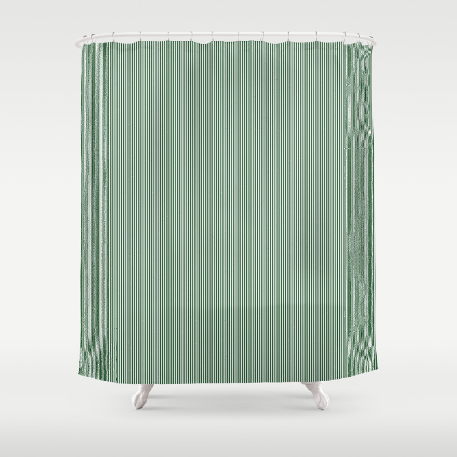 Mini Forest Green And White Rustic Vertical Pin Stripes Shower Curtain