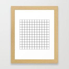 Grid Stripe Lines Black and White Minimalist Geometric Framed Art Print