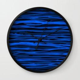 Slate Blue and Light Aqua Blue Stripes Wall Clock