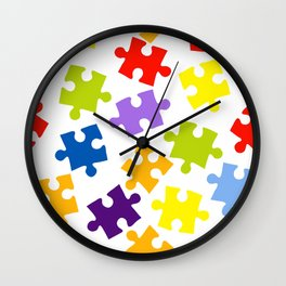 Seamless pattern with color puzzles Wall Clock