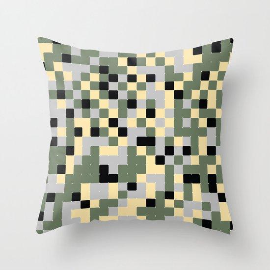 Pixelated Camo Pattern Throw Pillow