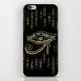 Egyptian Eye of Horus  on hieroglyphics gold and marble iPhone Skin