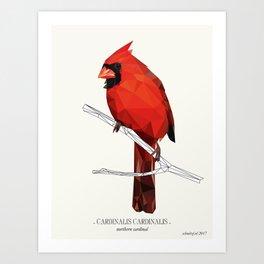 "Northern Cardinal - ""Vintage"" low poly digital art Art Print"