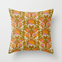 Orange, Pink Flowers and Green Leaves 1960s Retro Vintage Pattern Throw Pillow