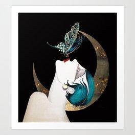 Butterfly Kiss Art Deco Remix Art Print