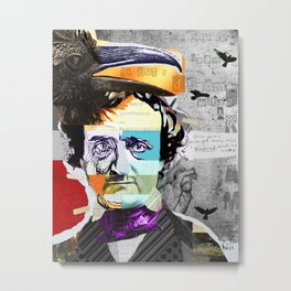 Edgar Allan Poe Collage Portrait by Michel Keck Metal Print