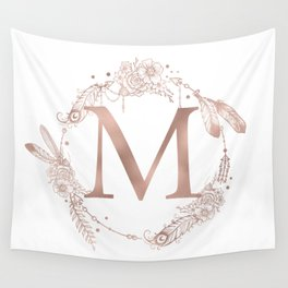 Letter M Rose Gold Pink Initial Monogram Wall Tapestry