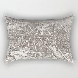 Large Map of Paris from 1618 Rectangular Pillow