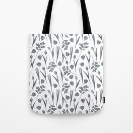 Modern botanical gray mauve teal floral pattern Tote Bag