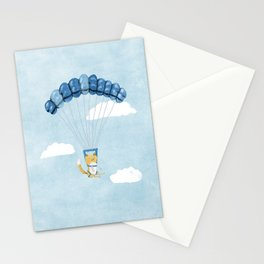 Cutie Parachuting Dog Stationery Cards