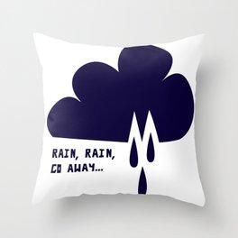 Weather Rain Cloud Rain Rain Go Away Navy Throw Pillow