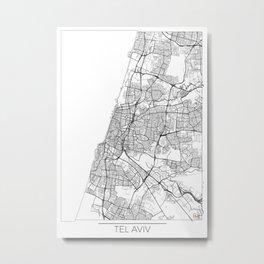 Tel Aviv Map White Metal Print