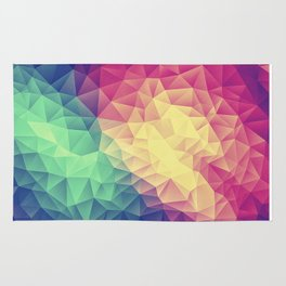 Abstract Polygon Multi Color Cubizm Painting (low poly) Rug
