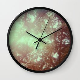 up in the trees - 600 one-step - vintage photography - sunlight - polaroid print Wall Clock