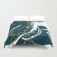 denmark Duvet Covers featuring Copenhagen Denmark Map by Studio Tesouro